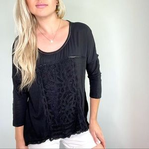 Anthropologie Black Embroidered 3/4 Sleeve Top M